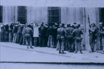 Dr. Quiroga being held by the Pinochet regime the day of the coup in Chile, 1973.