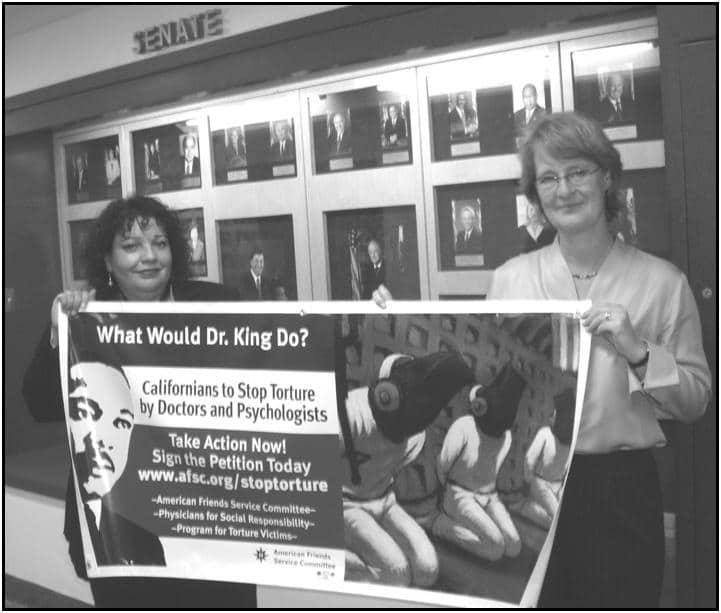 Martha Dina Argüello, Executive Director of PSR-LA and Sandra Schwartz, Program Coordinator with AFSC-San Francisco at the State Capitol