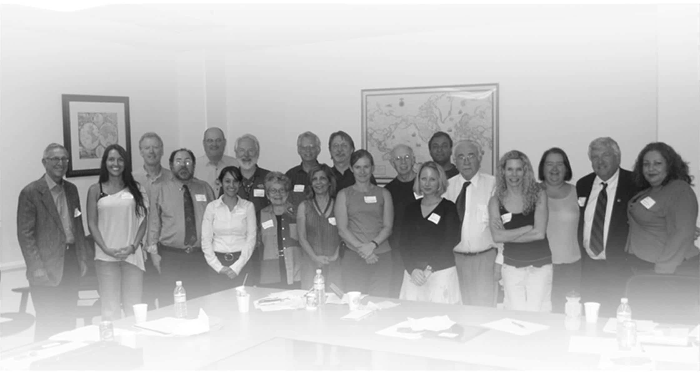 PSR-LA Ambassadors from Sept. 20 session—Front row (left to right) Milford Wyman MD; Natalia Koteva; Ken Levy MFT; Ana Mascareñas (staff); Ruth Tavlin MFT; Farideh Kioumehr-Dadsetan, DVM, DrPH, MPH; Sharon Squassoni (presenter); Tova Fuller; Jose Quiroga MD; Denise Duffield (staff); Margaret Wacker MD; Wayne Glass PhD (presenter);  Martha Dina Argüello (staff) Back row (left to right) Bob Dodge MD; Michael Gutstadt PsyD; Stephen Coles MD, PhD; Bennet Ramberg PhD, JD (presenter); Curren Warf MD;  Bill Perkins MD; Anshu Vashishtha MD, PhD, MACP, RAC; Dorcas Tokes (not pictured); Shirah Vollmer MD (not pictured)